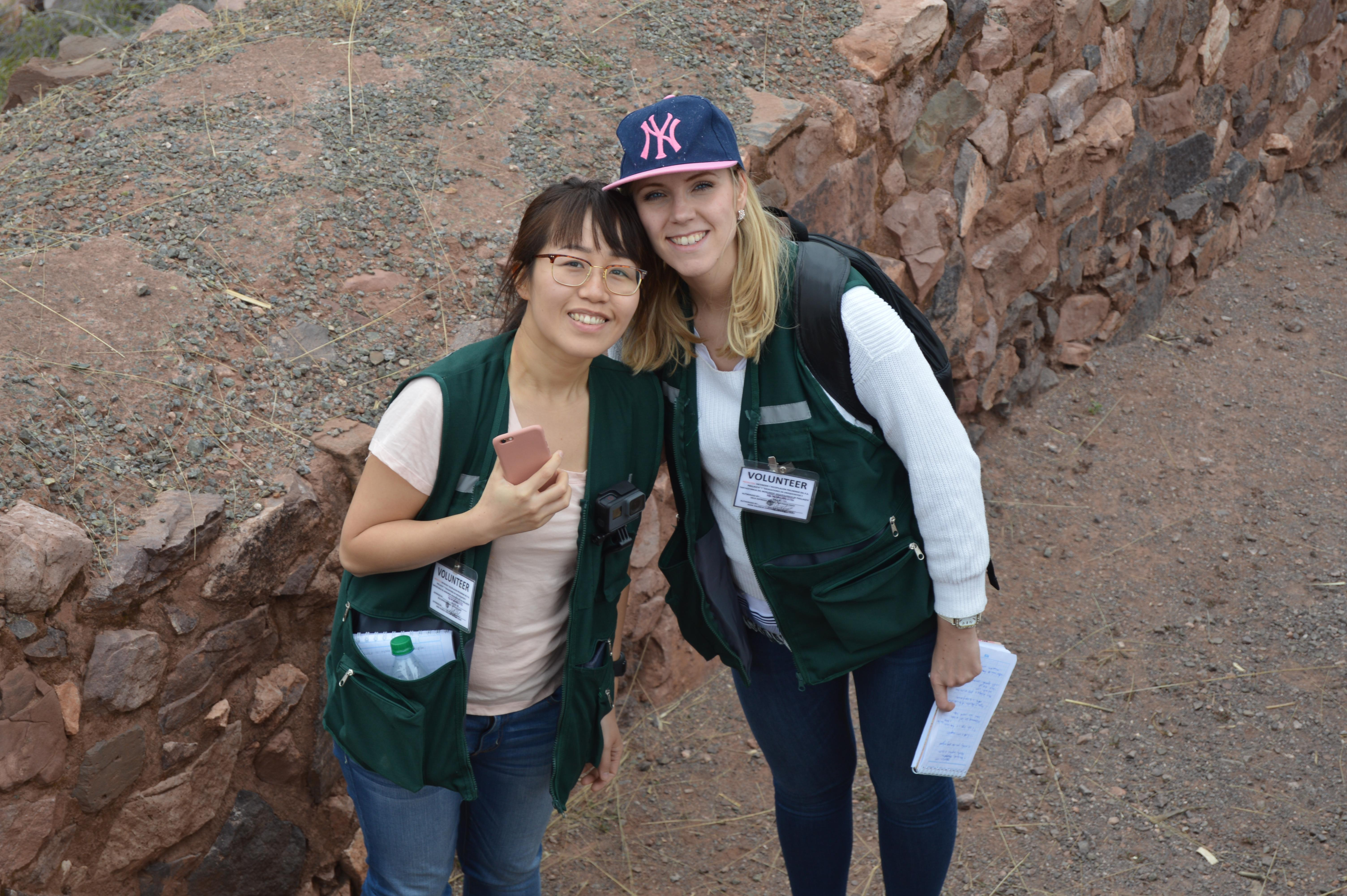 Volunteers take a break and take a photo at the archaeology for teenagers project in Peru.